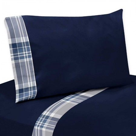 Plaid Navy Blue and Gray Twin Size Sheet Set