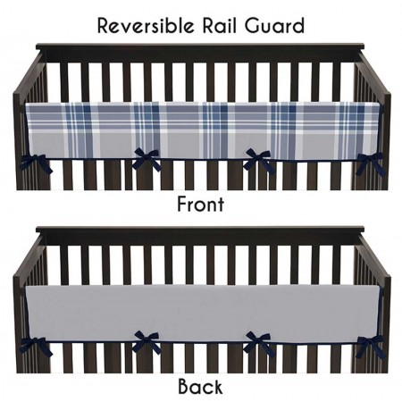 Plaid Navy Blue and Gray Collection Long Rail Guard Cover