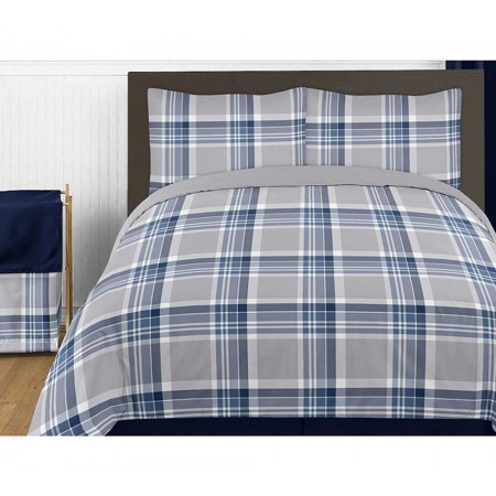 Plaid Navy Blue and Gray Bedding Set - 4 Piece Twin Size By Sweet Jojo Designs
