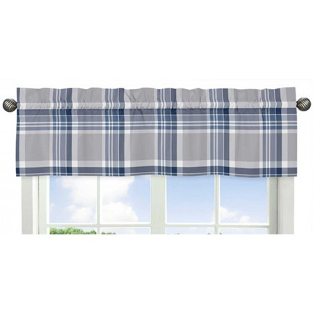 Plaid Navy Blue and Gray Valance