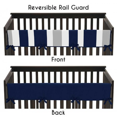 Navy & Gray Stripe Collection Long Rail Guard Cover