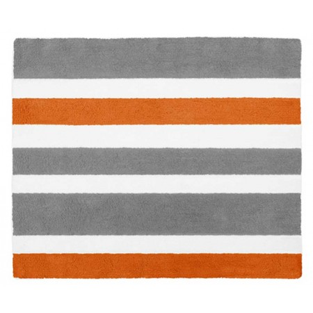 Gray & Orange Stripe Floor Rug
