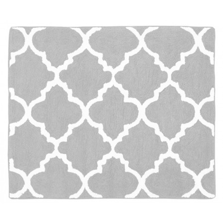 Gray & White Trellis  Floor Rug