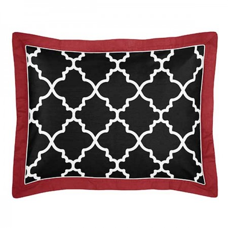 Red & Black Trellis Pillow Sham