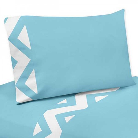 Turquoise & White Chevron Print Sheet Set