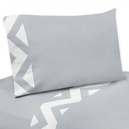 Grey & White Chevron Print Sheet Set