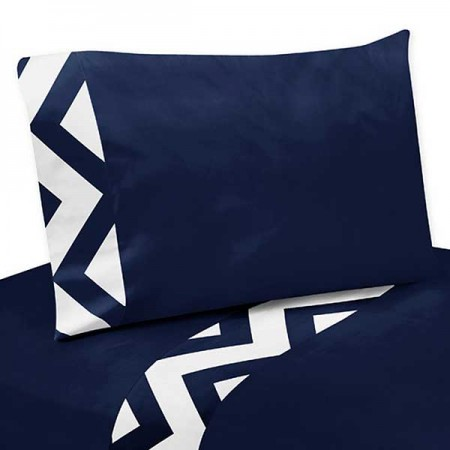 Navy & White Chevron Print Sheet Set