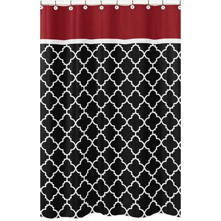 Red & Black Trellis Shower Curtain