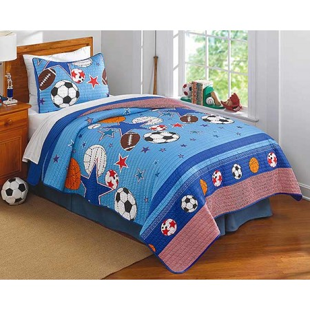 Sports & Stars Quilt & Sham Set - Twin Size