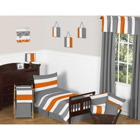 Gray & Orange Stripe Toddler Bedding Set by Sweet Jojo Designs
