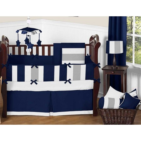 Navy & Gray Stripe Crib Bedding Set by Sweet Jojo Designs - 9 piece