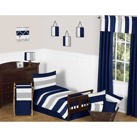 Navy & Gray Stripe Toddler Bedding Set by Sweet Jojo Designs