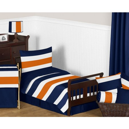 Navy & Orange Stripe Toddler Bedding Set By Sweet Jojo Designs