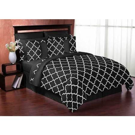 Black & White Trellis Comforter Set - 3 Piece Full/Queen Size By Sweet Jojo Designs