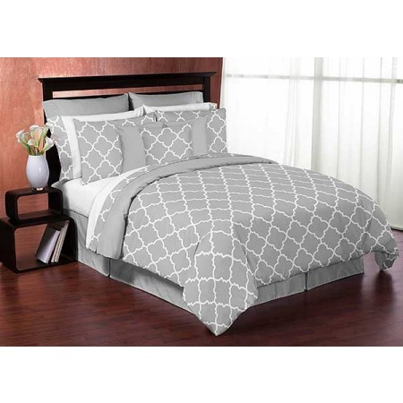 Gray & White Trellis Bedding Set - 4 Piece Twin Size By Sweet Jojo Designs