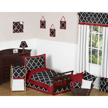 Red & Black Trellis Toddler Bedding Set By Sweet Jojo Designs