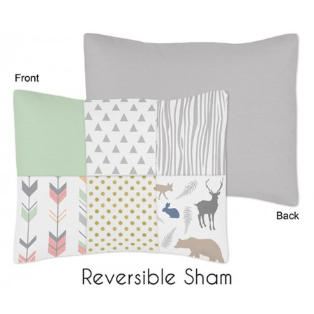 Woodsy Coral, Mint & Grey Pillow Sham