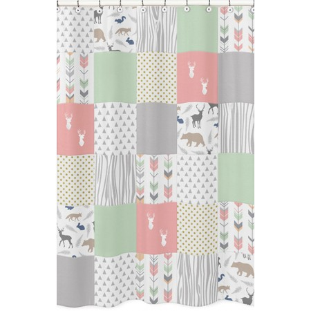 Woodsy Coral, Mint & Grey Shower Curtain