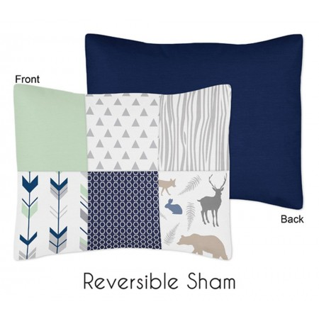 Woodsy Navy, Mint & Grey Pillow Sham