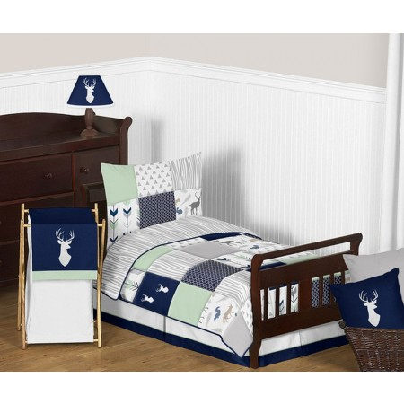 Woodsy Navy, Mint & Grey Toddler Bedding Set By Sweet Jojo Designs
