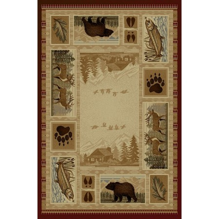 WILDERNESS-750 Bear, Deer, Fish Design Area Rug - Wilderness Collection