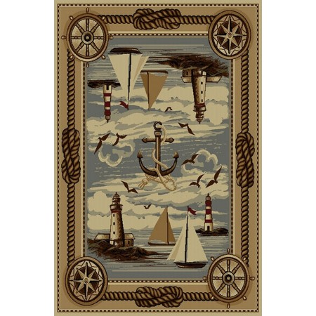 WILDERNESS-751 Sailboats & Lighthouses Nautical Design Area Rug - Wilderness Collection