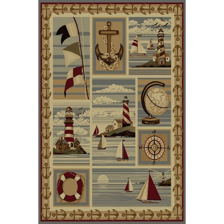 WILDERNESS-754 Anchors, Sailboats & Lighthouses Nautical Design Area Rug - Wilderness Collection