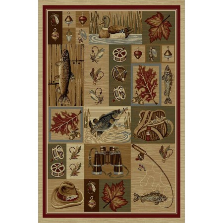 WILDERNESS-755 Fishing Tackle Area Rug - Wilderness Collection