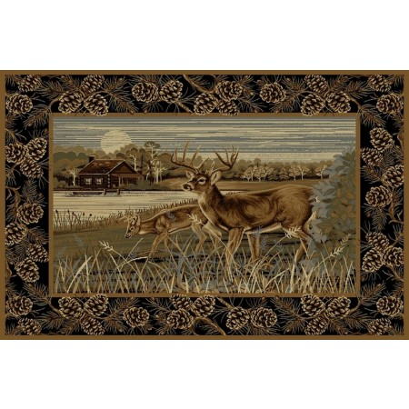 WILDERNESS-756 Deer Design Area Rug - Wilderness Collection