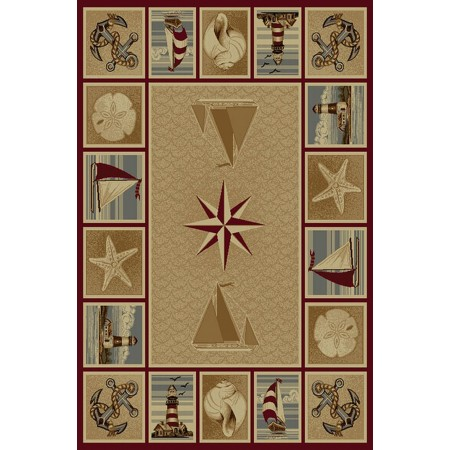 WILDERNESS-758 Anchors, Sailboats & Star Fish Nautical Design Area Rug - Wilderness Collection