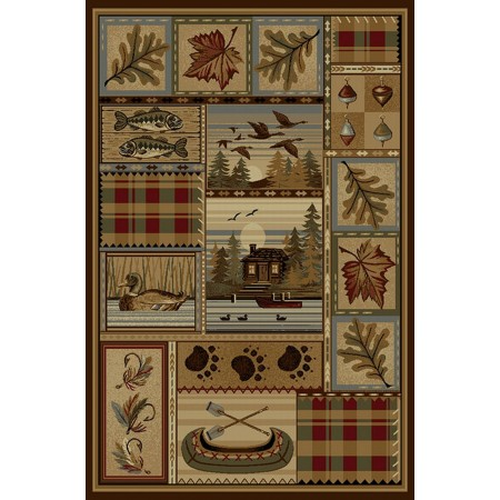 WILDERNESS-759 Rustic Cabin Design Area Rug - Wilderness Collection
