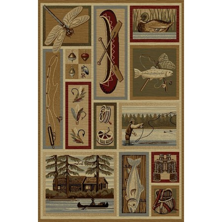 WILDERNESS-762 Fly Fishing Area Rug - Wilderness Collection