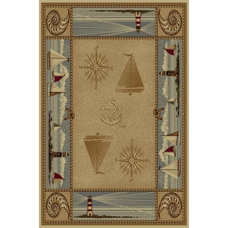 WILDERNESS-763 Sailboat Nautical Design Area Rug - Wilderness Collection