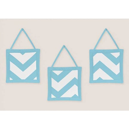 Turquoise & White Chevron Print Wall Hanging