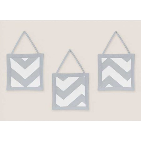 Grey & White Chevron Print Wall Hanging
