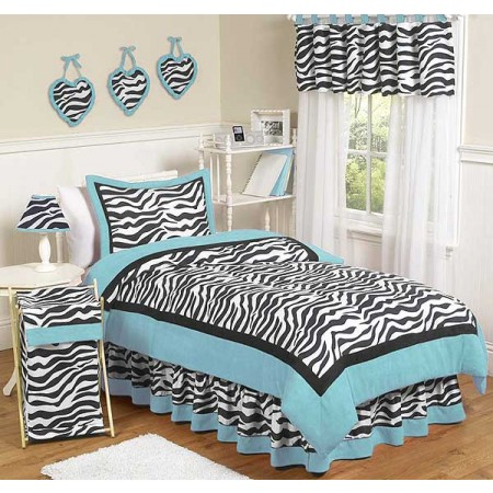Blue Zebra Bedding Set - 4 Piece Twin Size By Sweet Jojo Designs