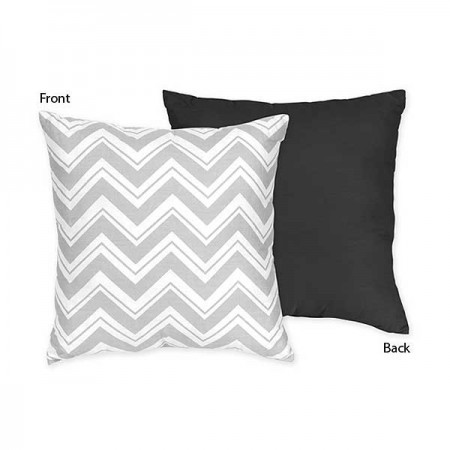 Zig Zag Black & Gray Chevron Print Accent Pillow