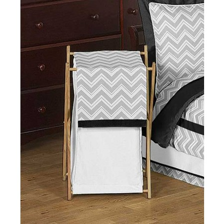 Zig Zag Black & Gray Chevron Print Hamper