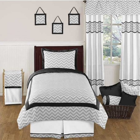 Zig Zag Black & Gray Chevron Print Comforter Set - Twin Size