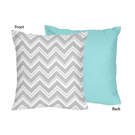 Zig Zag Turquoise & Gray Chevron Print Accent Pillow