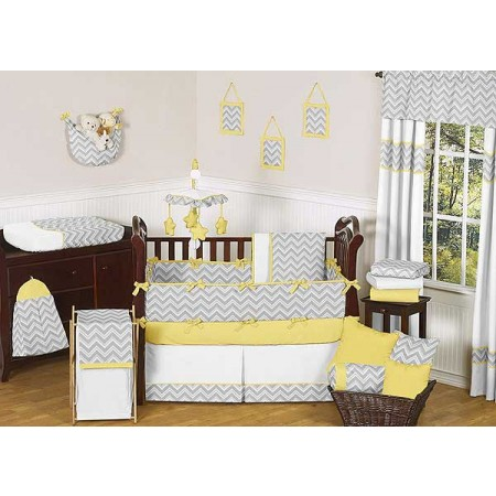 Zig Zag Yellow & Gray Chevron Print Crib Bedding Set
