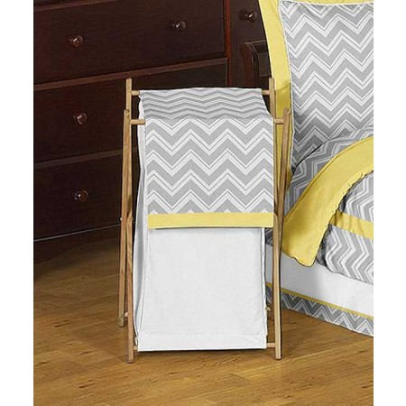 Zig Zag Yellow & Gray Chevron Print Hamper