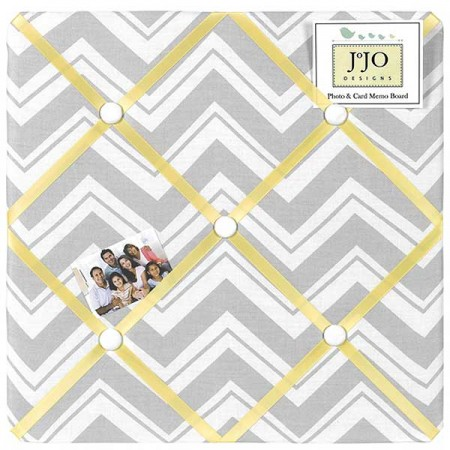 Zig Zag Yellow & Gray Chevron Print Fabric Memo Board