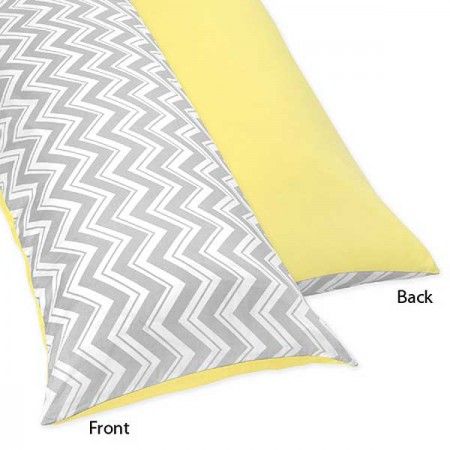 Zig Zag Yellow & Gray Chevron Print Body Pillow Cover