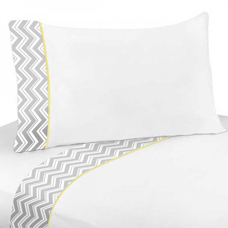 Zig Zag Yellow & Gray Chevron Print Sheet Set
