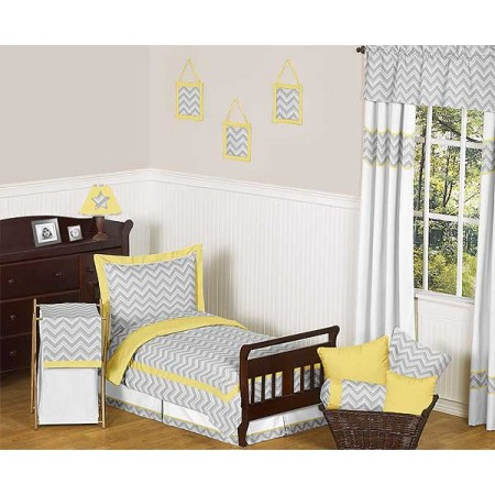 Zig Zag Yellow & Gray Chevron Print Toddler Bed Set