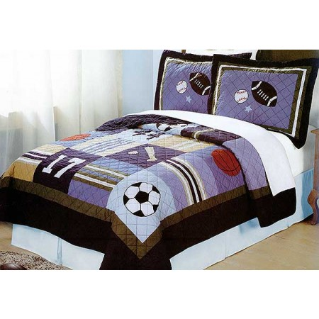 All State Sports Quilt and Sham Set - Twin Size
