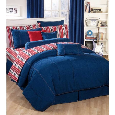 American Denim Comforter for College Dorm Rooms - XL Twin Size**