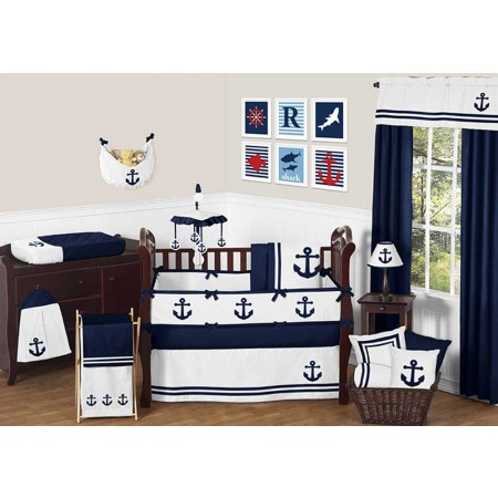 Anchors Away Crib Bedding Set by Sweet Jojo Designs - 9 piece