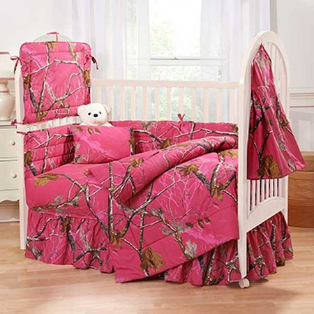 AP Fuchsia Camo 3 Piece Crib Set